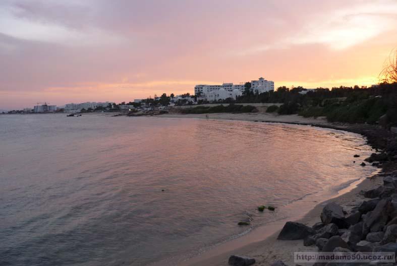 Пляж, закат солнца